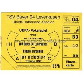 Lote de la Final Copa UEFA 1988l TSV Bayer 04 Leverkusen vs RCD Español, 4 artículos