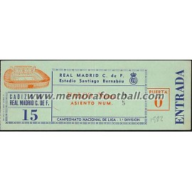 Entrada Real Madrid v Cádiz 21-03-82
