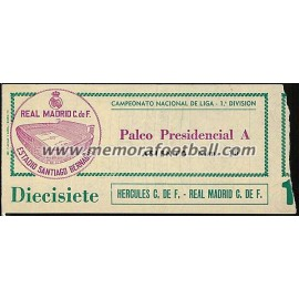 Real Madrid v Hércules CF 11-02-79 ticket