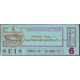 Real Madrid v Hércules CF 18-11-79 ticket
