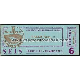 Real Madrid v Hércules CF 18-11-79 ticket