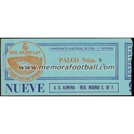 Entrada Real Madrid v AD Almería 04-01-81