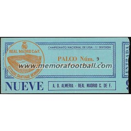 Real Madrid v AD Almería 04-01-81 ticket