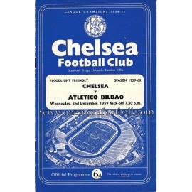 Programa del partido Chelsea v Atlético de Bilbao 02-12-1959