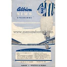 Programa del partido West Bromwich Albion v Atlético de Bilbao 05-11-1958