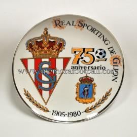 Plato de cerámica del 75 Aniversario del Real Sporting de Gijón 1905-1980