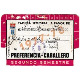 Real Oviedo Semiannual Membership Card, season 1977-78