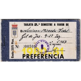 Real Oviedo Semiannual Membership Card, season 1980-81