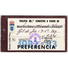 Real Oviedo Semiannual Membership Card, season 1982-83