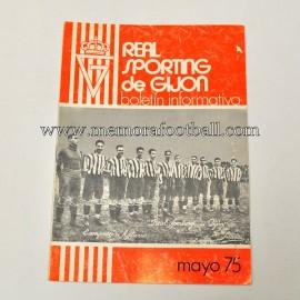 Boletín Informativo Real Sporting de Gijón vs Real Madrid, marzo 1975