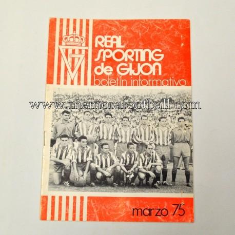 Boletín Informativo Real Sporting de Gijón vs Atlético de Madrid, marzo 1975