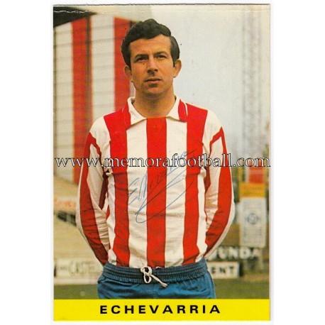 "Tarjeta postal firmada de ""ECHEVARRÍA"" Sporting de Gijón 1972"