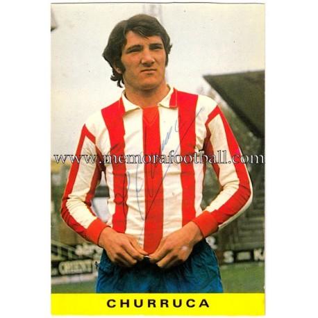 "Tarjeta postal firmada de ""CHURRUCA"" Sporting de Gijón 1972"