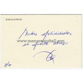 Tarjetón firmado por Josep Lluis Núñez presidente del FC Barcelona