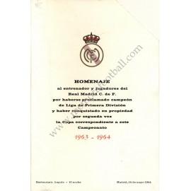 Menú Homenaje Real Madrid CF Campeón Liga 1963/1964