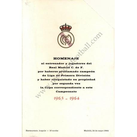 Menu cena homenaje alReal Madrid CF campeón liga 1963/1964