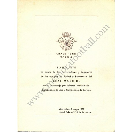 Real Madrid CF - Dinner tribute menu 03-05-1967