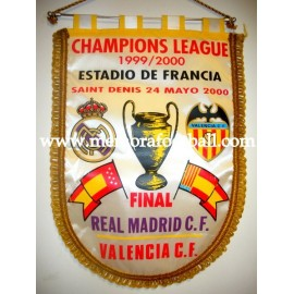 Real Madrid vs Valencia 2000 Champions League Final souvenir pennant