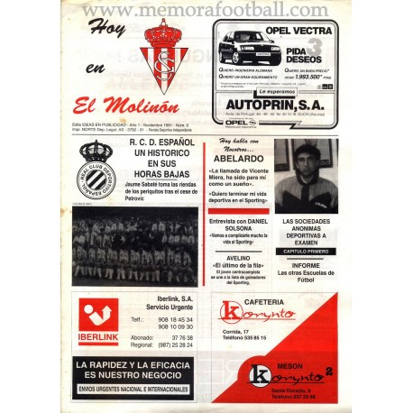 Sporting de Gijón vs RCD Español 1991 programme