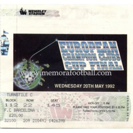 UEFA Champions League 1992 Final ticket
