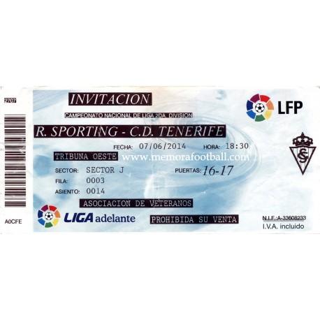 Sporting de Gijón v Tenerife LFP 07/06/2014 ticket