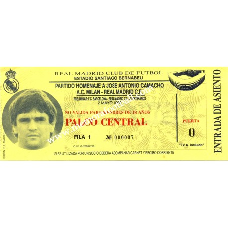 "Real Madrid vs AC Milan, 1990 ""Camacho"" Testimonial match"