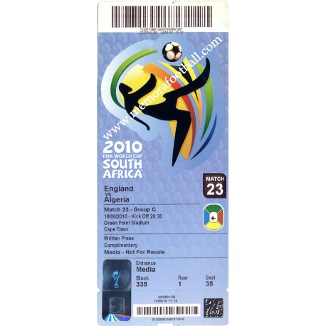 England vs Algeria - 2010 FIFA World Cup ticket