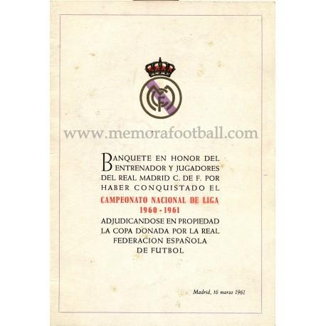 Menú Homenaje Real Madrid CF Campeón Liga 1960-1961