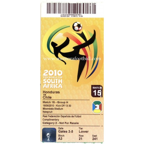 Honduras vs Chile - 2010 FIFA World Cup ticket