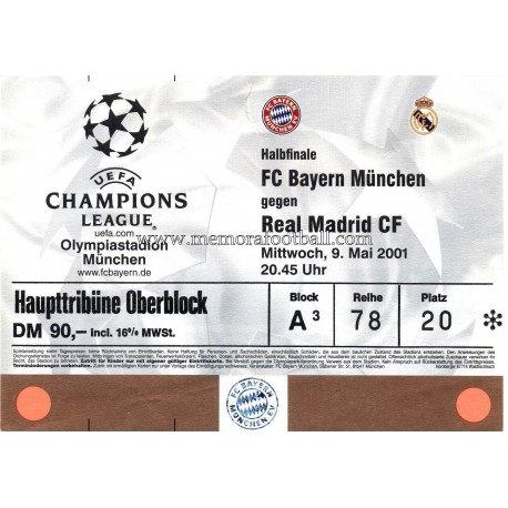 Bayern Munchen vs Real Madrid 9-05-2001 ticket