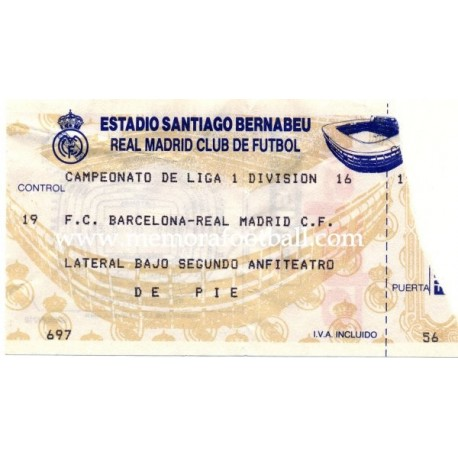 Real Madrid v FC Barcelona 1990s ticket