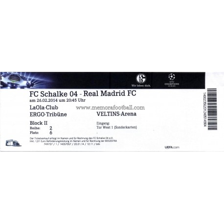 FC Schalke 04 sv Real Madrid 2013-14 Champions League ticket