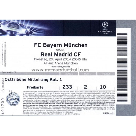 FC Bayern München vs Real Madrid 2013-14 Champions League ticket