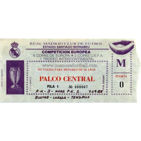 Real Madrid vs Moss FK 07-09-1988 Champions League ticket