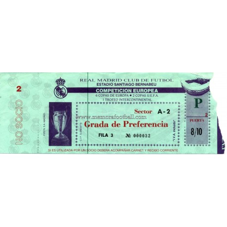 Real Madrid vs PSV Eindhoven 15-03-1989 Champions League ticket