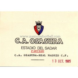 Osasuna vs Real Madrid 13-10-1985 Invitación para el Presidente