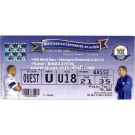 France v Brazil 20-05-2004 FIFA Centenary Match ticket