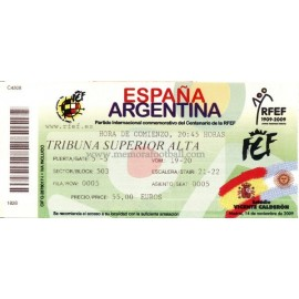 Spain v Argentina - 2009 Centenary match RFEF ticket