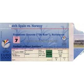 Spain vs Norway 2000 UEFA European Football Championship
