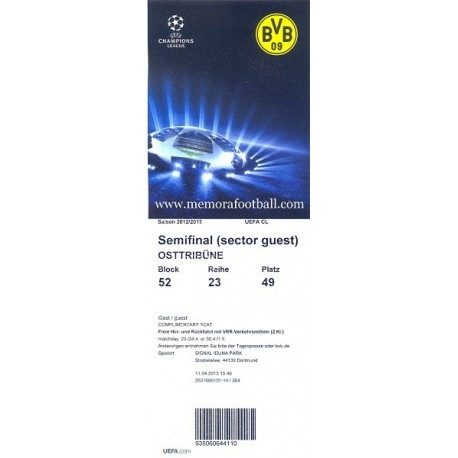 Borussia Dormund v Real Madrid. Semifinal Champions League 2012-13