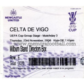 Newcastle United vs Celta de Vigo UEFA 23/11/2006