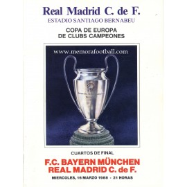 Real Madrid v Bayern Munchën - European Cup 1/4 Final 16/03/1988 programme