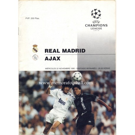 Real Madrid v Ajax - UEFA Champions league 22/11/1995 programme