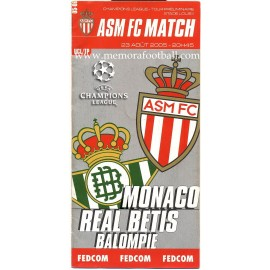 AS Monaco v Real Betis UEFA Champions League 2005/2006 programme