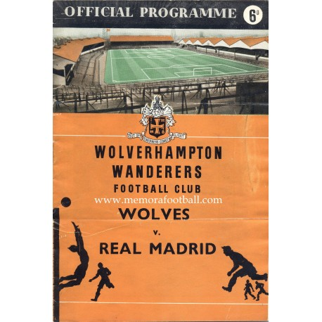 Wolverhampton Wanderers v Real Madrid official programme 17/10/1957 European Cup
