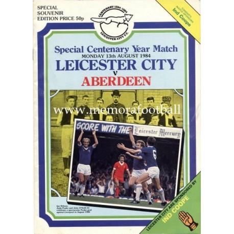 Leicester City v Aberdeen Centenary Year Match 13-08-1984 programme