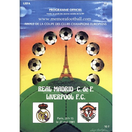 UEFA Champions League Final 1981 Official Programme