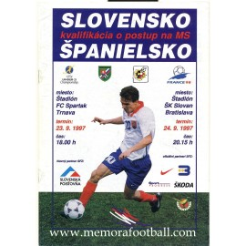 Slovakia v Spain FIFA World Cup 1998 qualifier programme
