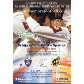 Serbia and Montenegro v Spain 2006 FIFA World Cup Qualifier Programme