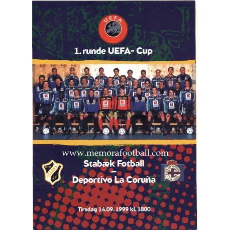 Stabaek Fotball v Deportivo de la Coruña UEFA Cup 1999-2000 Official Programme